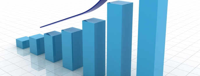 blue bar chart growing - cropped