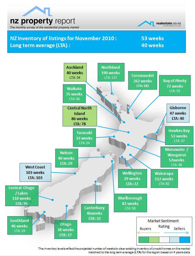 Inventory of unsold houses regional map Nov 2010