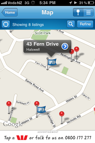 iPhone map result example