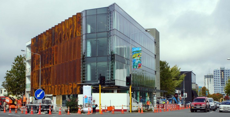Changing cityscape: a newly constructed office/retail building at the Victoria-Montreal-Salisbury intersection in central Christchurch. Photo from www.christchurchdailyphoto.com